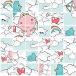 Cute cupid puzzle pattern. — Stock Vector