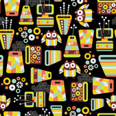 Seamless pattern with owls and vases. — Stock Vector