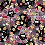 疯狂猫头鹰和一些好吃的东西 — 图库矢量图片