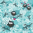 Winter seamless pattern with owls and snow. — Stock Vector #14747371