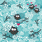 Winter seamless pattern with owls and snow. — Stock Vector