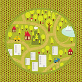 Cartoon map of small town and countryside. — Stock Vector