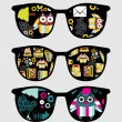 Retro sunglasses with cute owls reflection in it. - Stock Vector