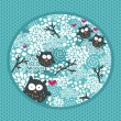 Winter pattern with owls and snow. — Stock Vector #15359817