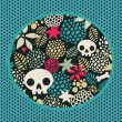 Big skulls and flowers background. - Stock Vector