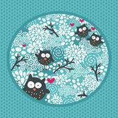 Winter pattern with owls and snow. — Stock Vector