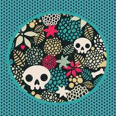 Big skulls and flowers background. — Stock Vector