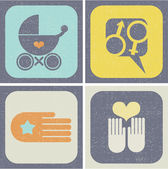 Icons set for family life. — Stock Vector
