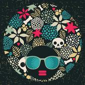Zwarte hoofd vrouw met vreemde patroon haar. — Stockvector