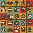 Royalty-Free Stock Vector Image: Robot and monsters cell seamless background in retro style #2.