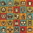 Robot and monsters cell seamless background in retro style #3. — Stock Vector