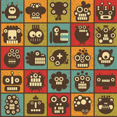 Robot and monsters cell seamless background in retro style #2. — Stockvektor