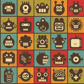 Robot and monsters cell seamless background in retro style #1. — Stock Vector