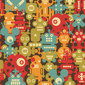 Robot and monsters modern seamless pattern in retro style. — Stock Vector