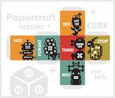 Cube papír s monster pro štěstí. — Stock vektor