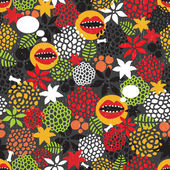 Seamless pattern with crazy mouth. — Stock Vector