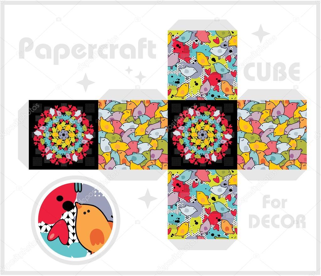 Cube de papier pour la d coration et des jeux pour enfants - Faire un cube en papier ...