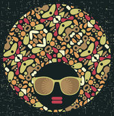奇妙なパターン髪と黒の頭の女性. — ストックベクタ