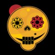 Funny skull face. — Stock Vector
