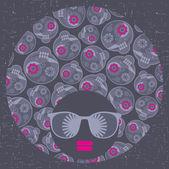 Cabeça negra com cabelo estranho padrão. — Vetorial Stock