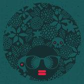 Femme de tête noire avec motif étrange sur ses cheveux. — Vecteur