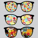 Retro sunglasses with bright reflection in it. — Stock Vector