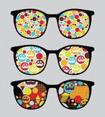 Retro sonnenbrille mit hellen reflexion drin. — Stockvektor