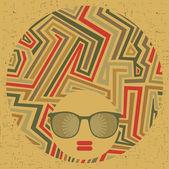 Black head woman with strange pattern hair. — Stock Vector