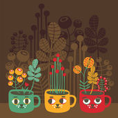 Cute vases with flowers - cat faces. — Stock Vector