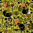 Stok Vektör: Seamless pattern with black cats.