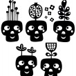 Stock Vector: Funny skulls with flowers.