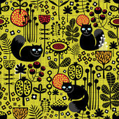 Seamless pattern with black cats. — Stock Vector