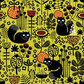 Naadloze patroon met zwarte katten. — Stockvector