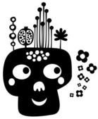 Funny skull with flowers. — Stock Vector