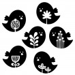 Collection of cute birds with flower decor. — Stockvectorbeeld
