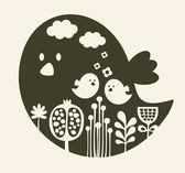 Impresión de pájaro de dibujos animados lindo. — Vector de stock