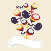Cinta con lindos pájaros y flores retro. — Vector de stock