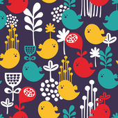 Seamless pattern with colorful cartoon birds. — Stock Vector