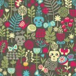 Stockvector : Cute skulls seamless pattern.