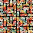 Retro seamless pattern with mosaic of flowers. — Stock Vector