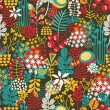 Beautiful seamless pattern with cute birds and pretty flowers.  — Stockvectorbeeld