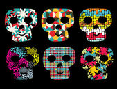 Set of cute skulls. — Stock Vector
