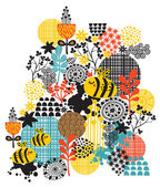 Background with flowers and bees. — Wektor stockowy