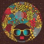 femme de tête noire avec motif étrange sur ses cheveux — Vecteur