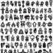 Big set of icons with monsters and robots. — Stock Vector
