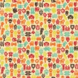 Robots seamless pattern in retro style. — Stock Vector