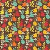 Seamless mönster med tecknade fåglar. — Stockvektor