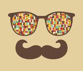 ретро очки с отражением битник. — Cтоковый вектор