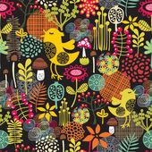 无缝花纹美丽与可爱的鸟. — 图库矢量图片
