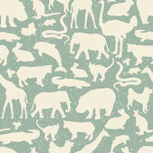 Animals silhouette seamless pattern. — Stock Vector
